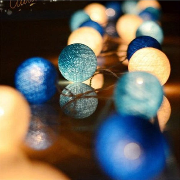 20-Cotton Ball String Light Christmas Decorations for Home, New Years, christmas decoration garland - mydealsite