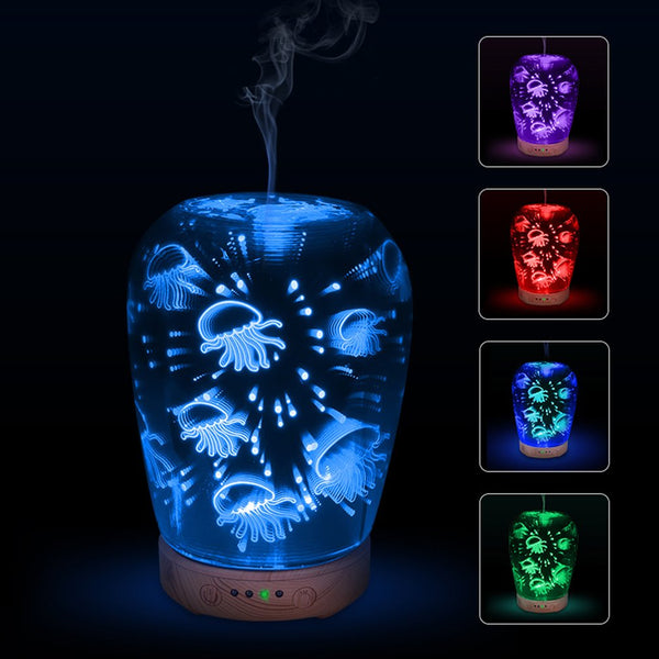 3D Jellyfish Essential Oil Aroma Diffuser Portable Quiet Humidifier LED Night Light Home Office - mydealsite