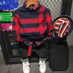 3 Pieces Baby Boy Plaid Knitted Sweater+ Shirt+ Jeans 2-6Y