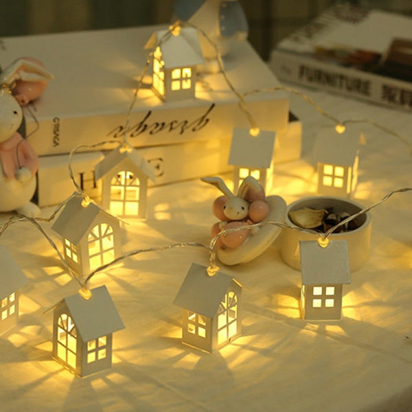 Christmas LED Wood House garland String light