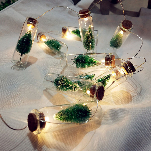 1M Battery Christmas Tree Mason Jar String Fairy Lights Glass Bottle Garland - mydealsite