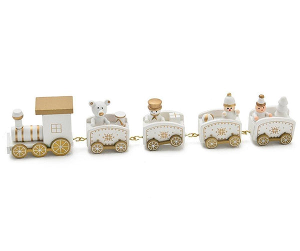 Christmas Decoration For Home Little Train Wooden Train Decor Christmas Gift New Year - mydealsite