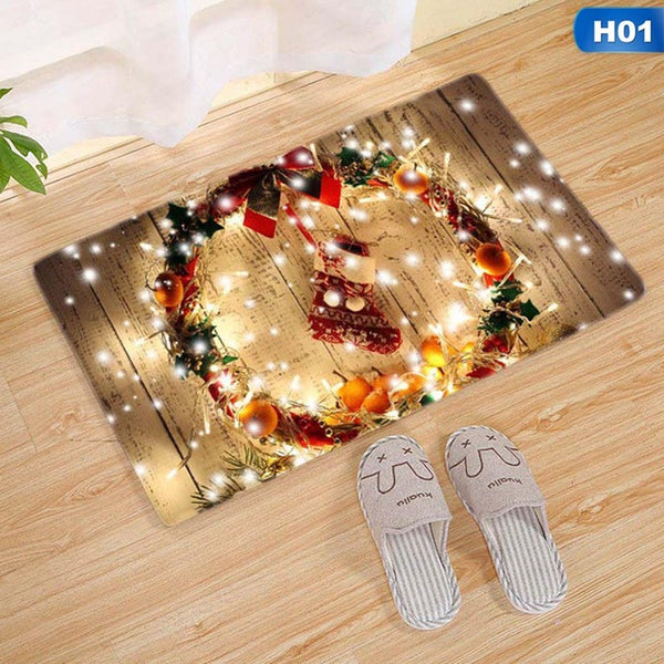 Merry Christmas Door Mat Santa Claus Flannel Outdoor Carpet Christmas For Home Xmas Party Favors New Year - mydealsite