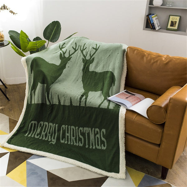 Soft Elegant Warm Lamb Velvet Double Knit Throw Blanket for Beds, Sofa ,Travel, Children,  Bedspread Christmas Blanket - mydealsite