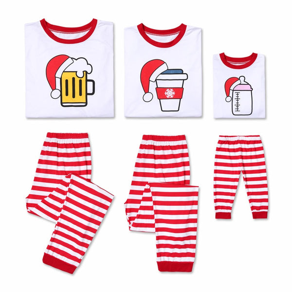 Family Matching Striped Full Tracksuits Cotton beer,coffee,milk bottle Christmas Pajama sets - mydealsite