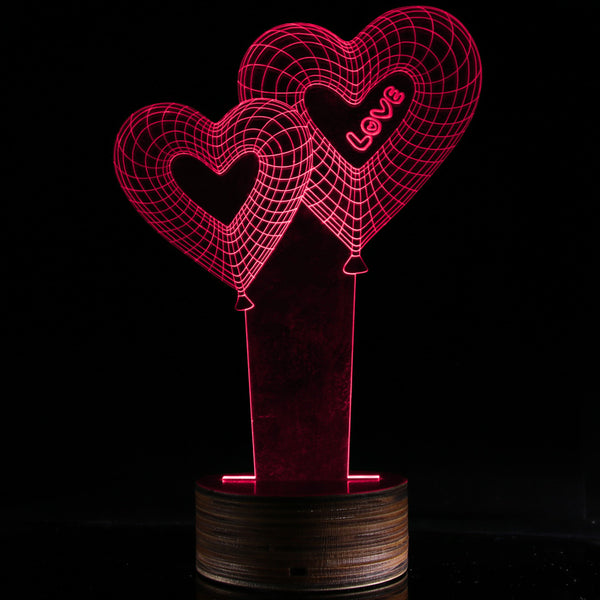 3D Hologram Illusion changing light Double Love Balloon Decorative Table Lamp - mydealsite