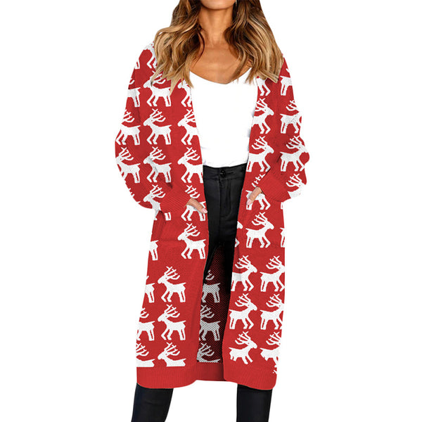 long Ugly Christmas Sweater Autumn Women, Knitted Cardigan with pockets - mydealsite