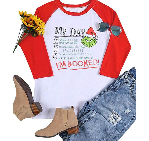 Grinch Christmas Shirt I Am Booked Raglan 3/4 Sleeve Funny shirt women - mydealsite