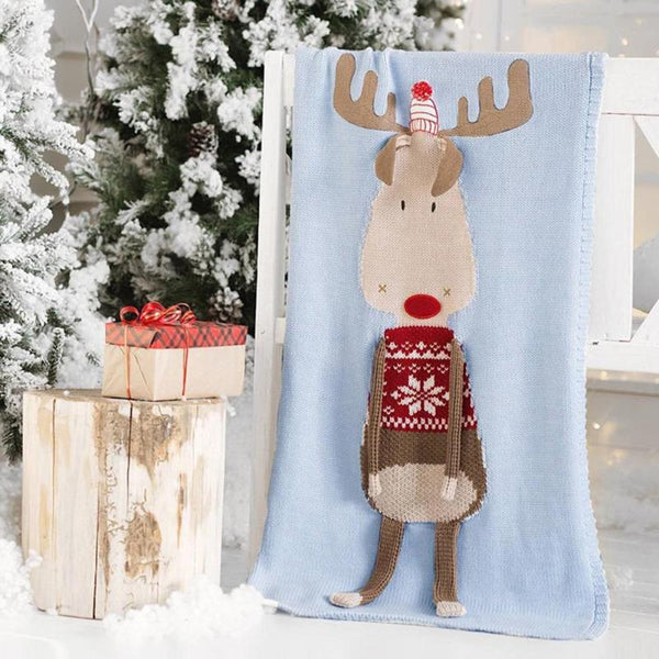 knitted baby deer christmas blanket - mydealsite