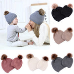 Matching Mother Baby Knit Warm Wool Pom Beanie Hats