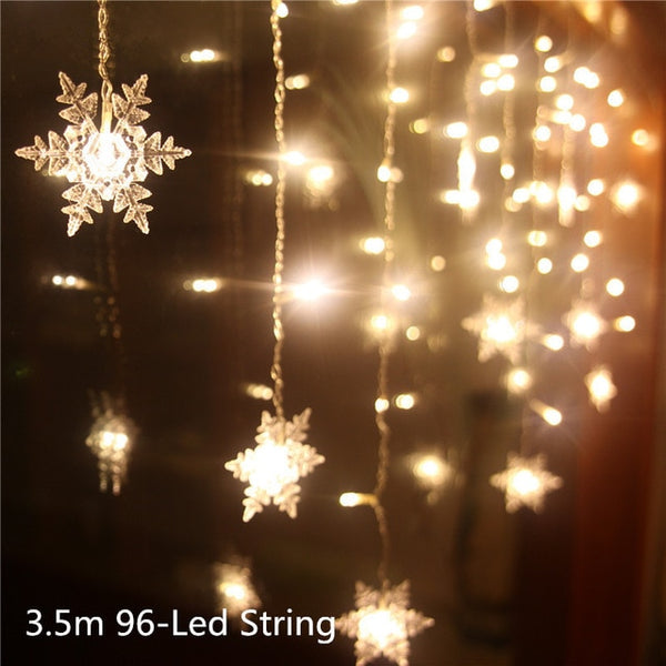 Led String Christmas snowflake shaped lights, outdoor Christmas lights decoration. 3 colors - mydealsite