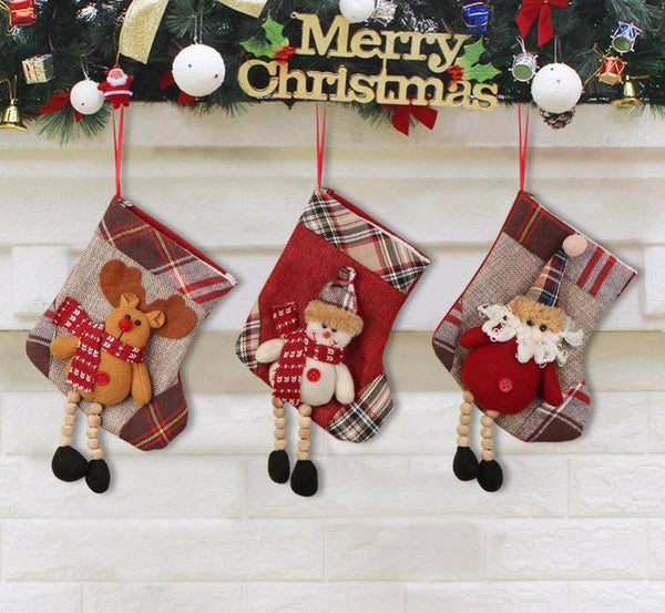 Mini Christmas  Plaid Santa Claus Gift Bag and Stockings