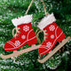 Christmas Wooden Decorative Pendant Skates Shoes tree ornament