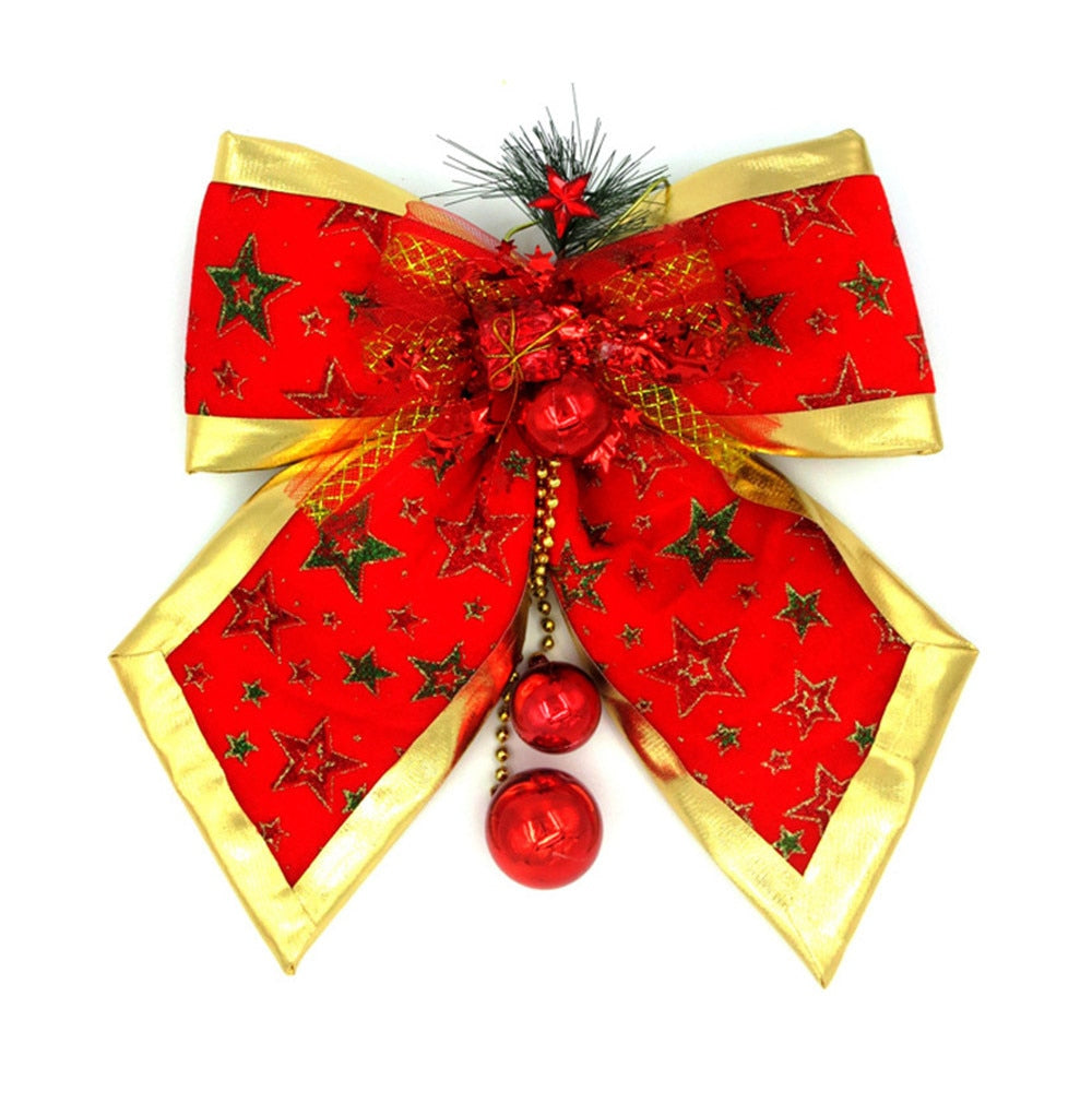Christmas Red Bow Tie Jingle Bells Tree Hanging Ornament