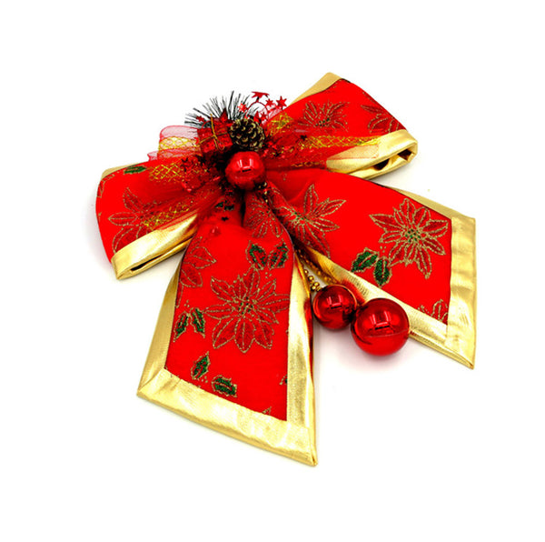 Christmas Large Red Bow Tie Jingle Bells Tree Hanging Ornament
