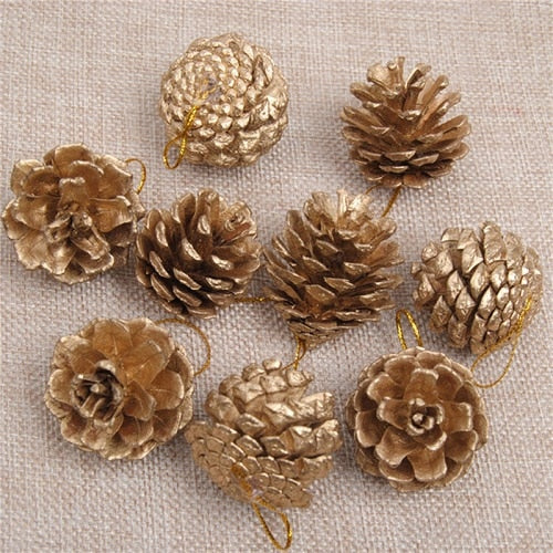 9pcs/Set gold and silver Pine Cones DIY christmasTree Ornaments Pendants - mydealsite