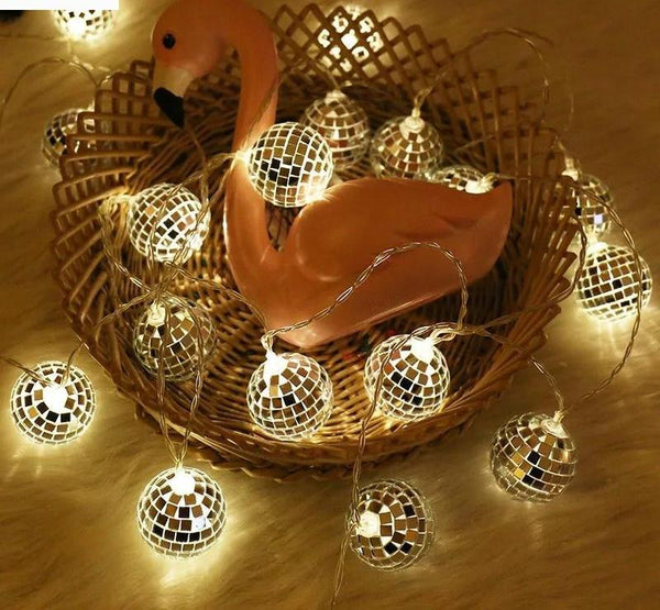 10 LEDs Slow Flash Disco Mirror Balls String lights - mydealsite