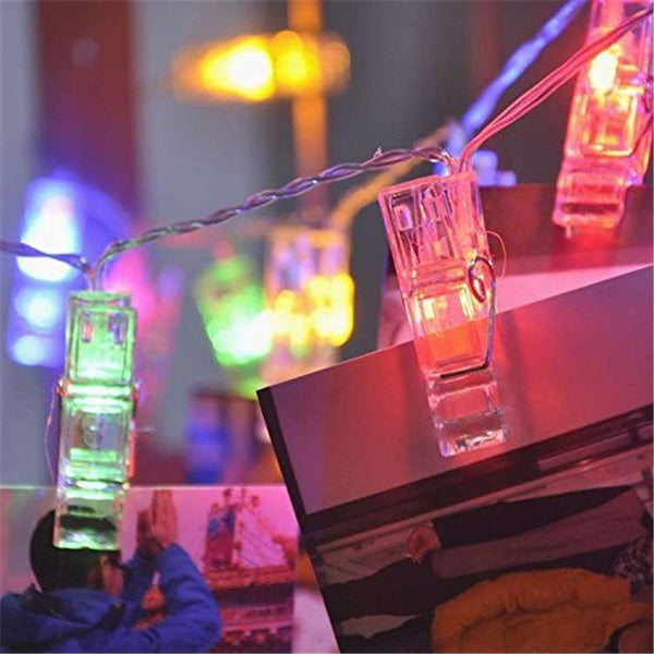 LED Photo Clip Hanging String Lights - 40 Photo Clips 4.2M Battery Powered Christmas Tree - mydealsite