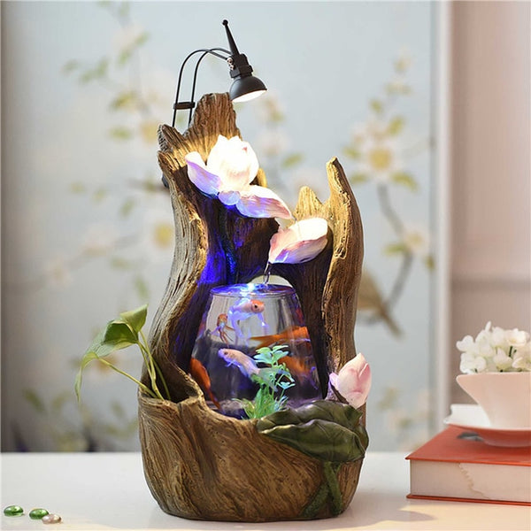 Aquarium Wonderland FishTank groot Tree Hollow Fountain With Light Desktop office Decoration Indoor Centerpiece Christmas gift