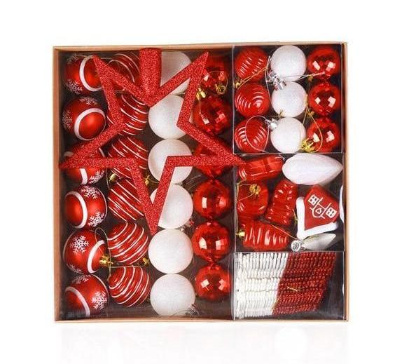 Christmas Red and White 80pcs Tree Hanging Ornaments - mydealsite