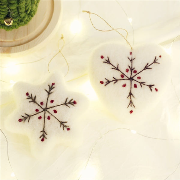 Wool Felt Snowflake Embroidery Pendant Love Star Ornaments - mydealsite