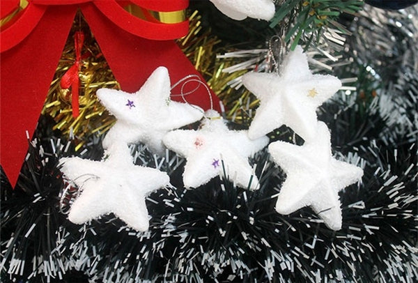6 Pcs White Stars Snowflake Christmas tree Ornaments