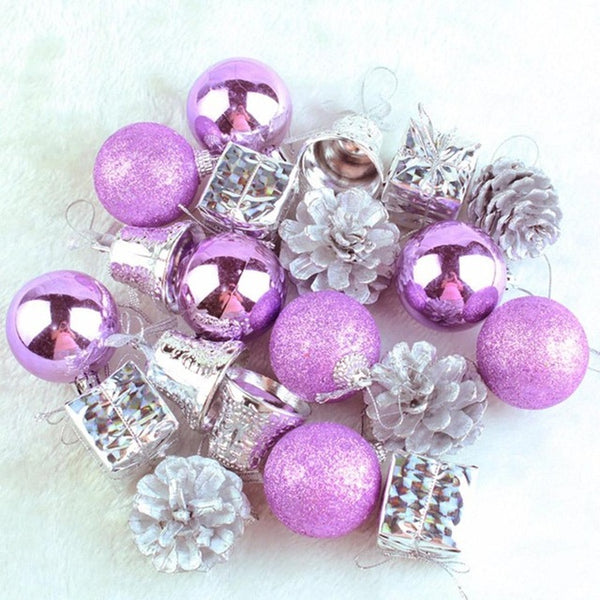 20pcs Christmas Tree Ball Bauble purple and silver Ornaments - mydealsite