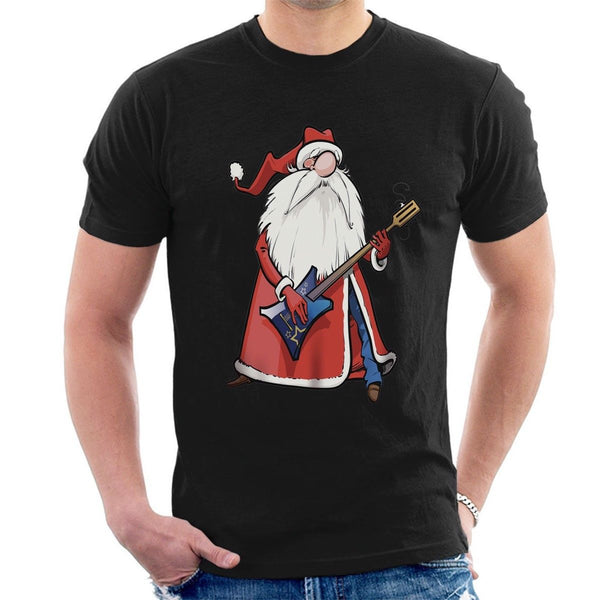 Santa Clause Guitar Rock Star Funny T- Shirt - mydealsite