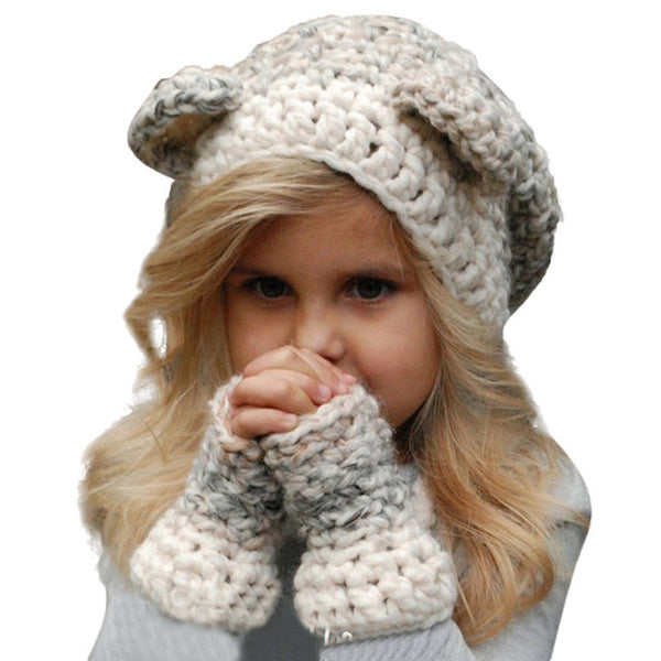Winter Hat Knitted Hood Scarf for Kids