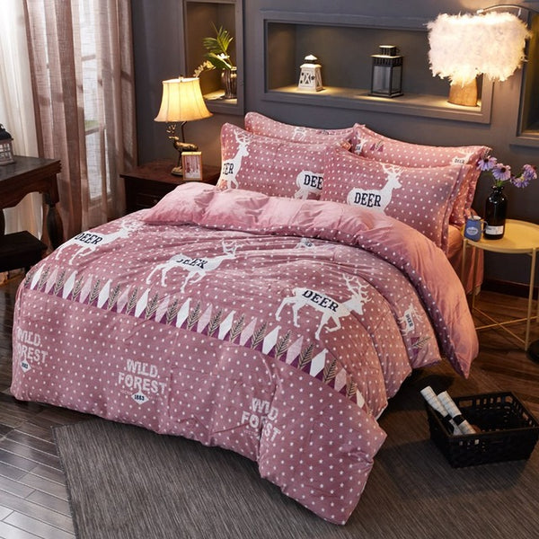Cozy Velvet Soft Fleece Christmas Deer Duvet Cover bed Sheet Pillowcase Bedding - mydealsite