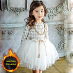 Girls Long Sleeve Cashmere Princess Dress with Cashmere Thickening Option