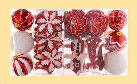 52Pcs Traditional Red and White Christmas Ball  Ornaments - mydealsite