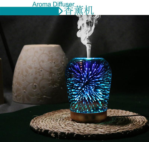 Essential Oil Diffuser 100mL 3D Essential Oil Diffuser Ultrasonic Humidifier With 7 Color Night Light - mydealsite