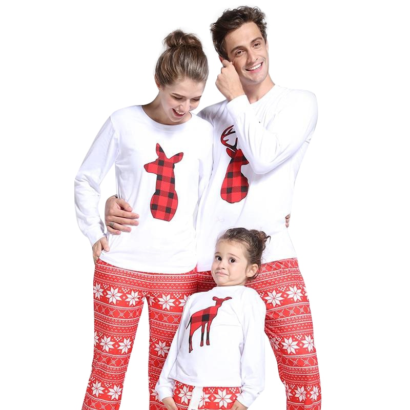 ... Christmas Family Matching Outfits Women Pajamas Sets Deer Snow Printed  Long Sleeve Top Trousers Xmas Sleepwear ca8e5a691