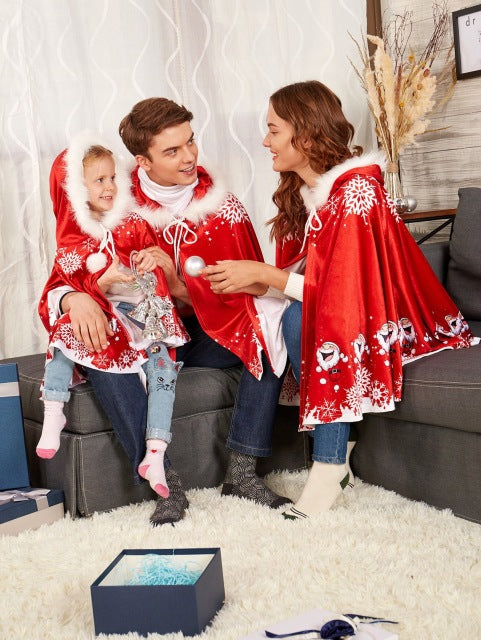 New 2018 Christmas Poncho Fashion Family Matching Hooded Scarf Father Mother And Me