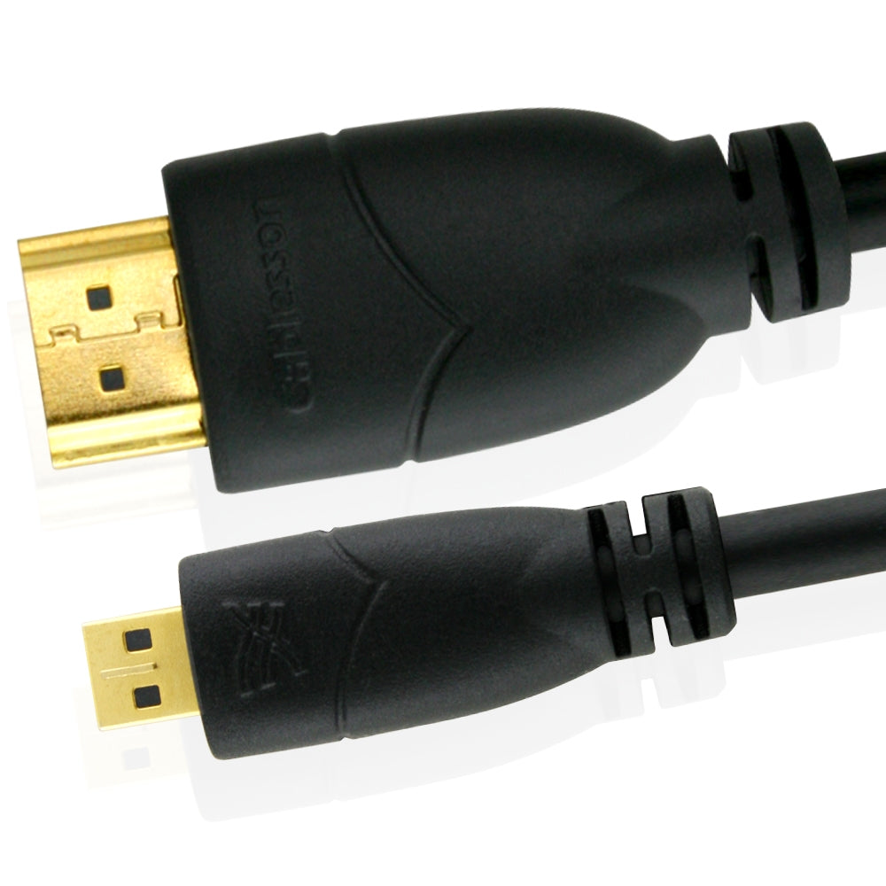 Cablesson Basic 2m / 2 meter Micro (Type D) HDMI to HDMI High Speed Cable with Ethernet (Latest 1.4a / 2.0 version) Gold Plated 3D Full HD 1080p 4k2k For Connecting HD Devices using the new Micro HDMI connector for Microsoft Surface tablet, Digital SLR Cameras, Mobile Phone and Other Tablets.