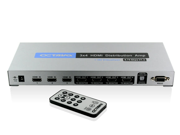 Octava HDDA34-UK 3x4 HDMI Splitter / Distribution Amp (1080p, SKY HD, Virgin HD, Freeview HD, XBOX 360, PS3)