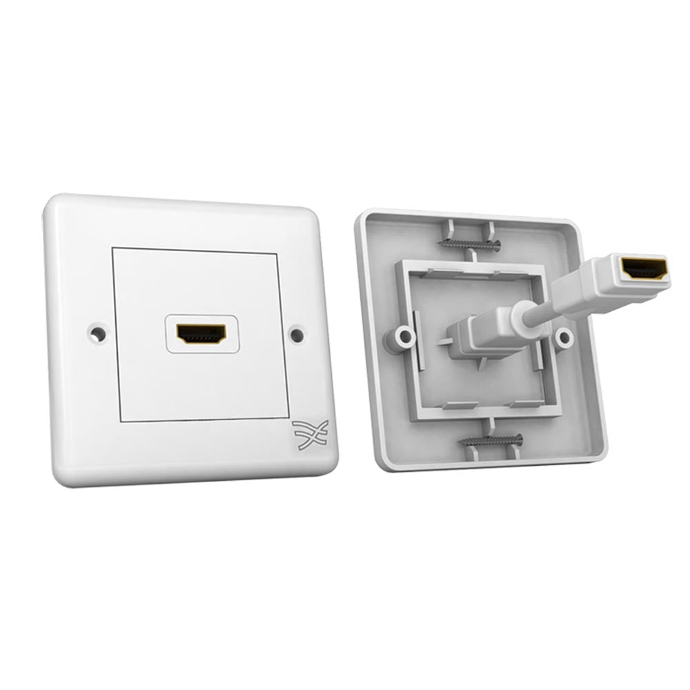 Cablesson HDMI Wall-Face Plate Dual Connector - 100/A / White Standard Size Face Plate / Supports all HDMI versions up to 1.4a with High Speed Ethernet / SKY HD, Blu-ray, 3DTV, 1080p / 24k Gold Plated Connector.