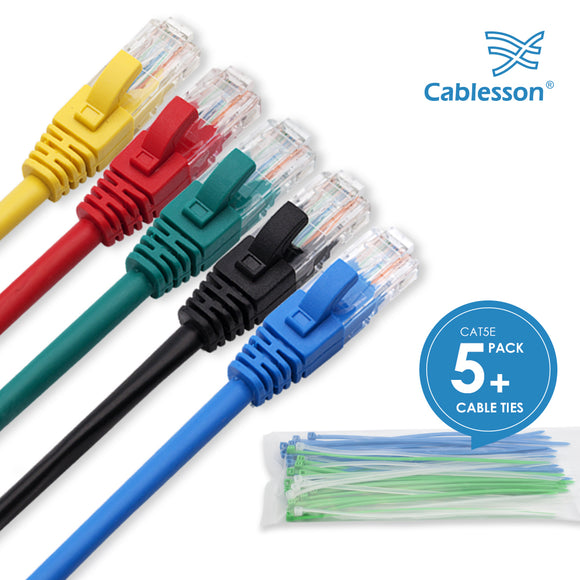 Cablesson Ethernet Cable - 1m - Cat5e (5 Pack + Cable Ties) Networking Cord Patch Cable RJ45 10 Gigabit 100Mhz Lan Wire Cable STP for Modem, Router, PC, Mac, Laptop, PS2, PS3, PS4, XBox, and XBox 360.