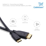 Cablesson Basic High Speed 1.5M (1.5 Meter) Mini HDMI to HDMI Cable with Ethernet (Latest 1.4a / 2.0 version) Gold Plated 3D Full HD 1080p 4k2k - use with Panasonic, Sony, JVC, Nikon, FujiFilm Camera and Camcorder Ideal For Connecting HD Devices using th