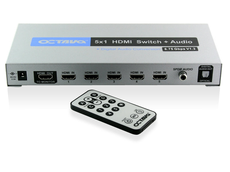 Octava HDSA51-UK 5 x 1 HDMI Audio Switch + Digital Audio Outputs (1080p, SKY HD, Virgin HD, Freeview HD, XBOX 360 PS3)