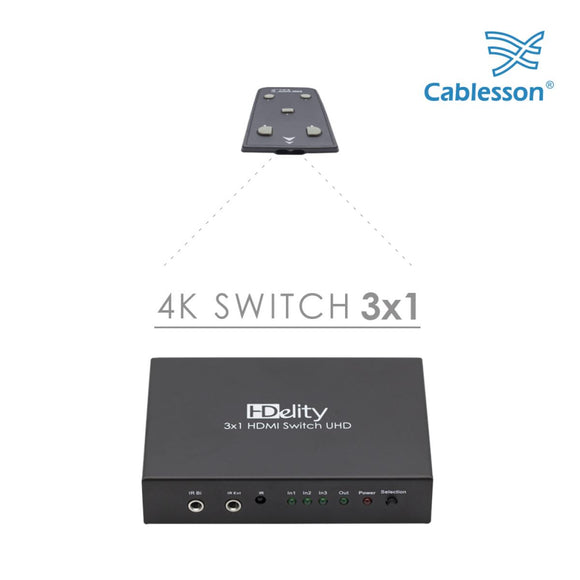 Cablesson HDelity Switch 3x1 HDMI 4k Full HD Umschalter | HDMI 2.1 / 2.0b / 2.0a / 2.0 / 1.4