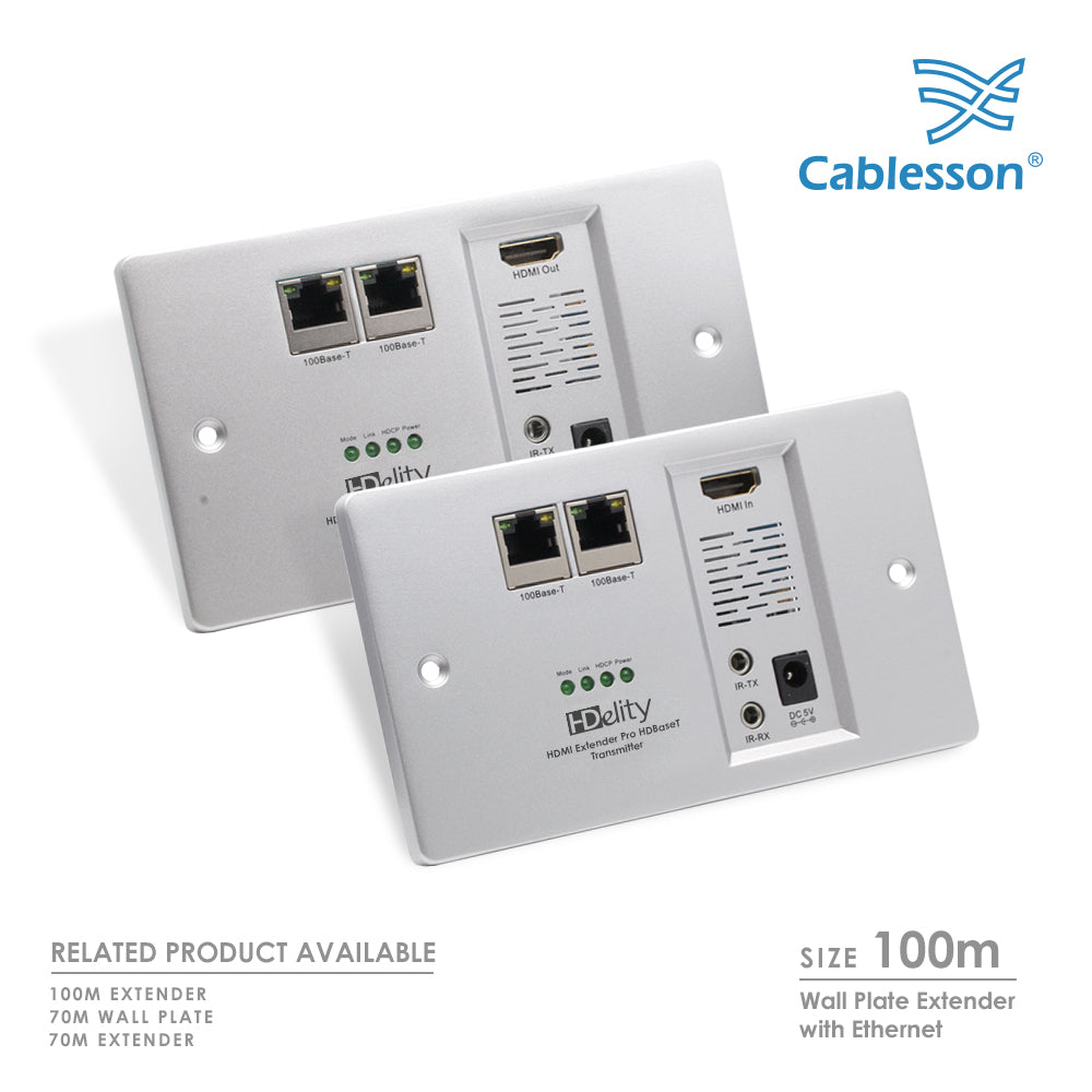 Cablesson HDelity HDBaseT Wandplatte mit Ethernet - 100M