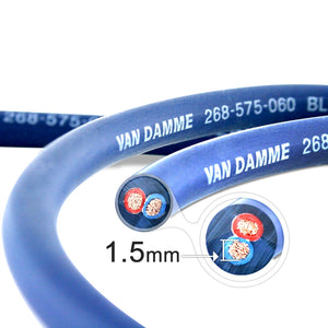 Van Damme Professional Blue Series Studio Grade 2 x 1.5 mm (2 core) Twin-Axial Speaker Cable 268-515-060 1 Metre / 1M