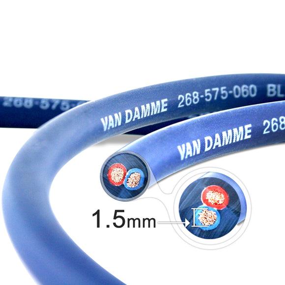 Van Damme Professional Blue Series Studio Grade 2 x 1.5 mm (2 core) Twin-Axial Speaker Cable 268-515-060 5 Metre / 5M