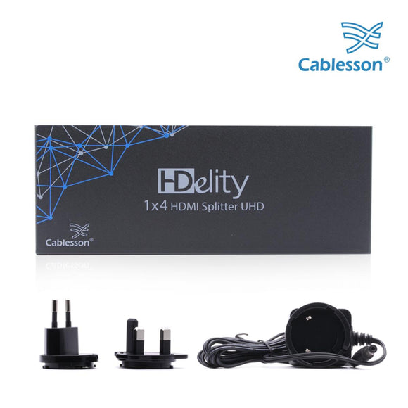 Cablesson 1X4 HDMI 2.0 Splitter MIT EDID (18G) 4K 1x4 Anschlüsse Konverter Full Ultra HD, 1080 4K 3D EDID für Xbox One, PS4 Sky Box Fire Stick, DVD-Player, HDTV