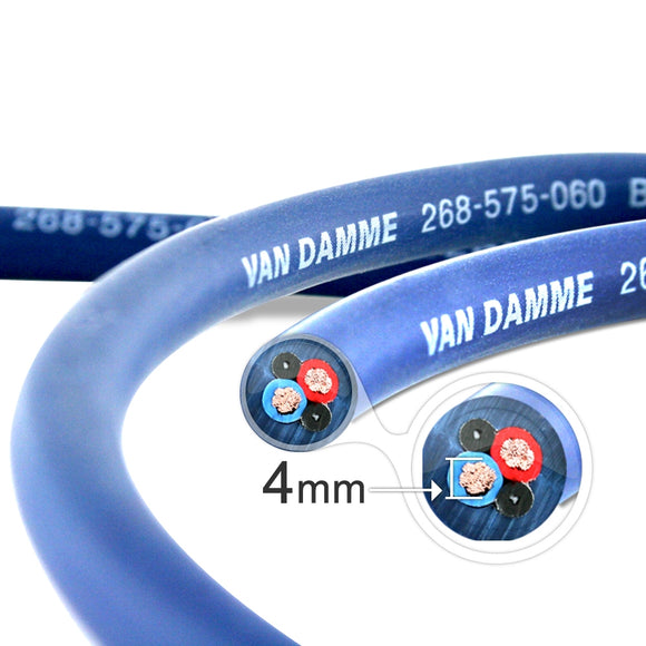 Van Damme Professional Blue Series Studio Grade 2 x 4.0 mm (2 core) Twin-Axial Speaker Cable 268-545-060 9 Metre / 9M
