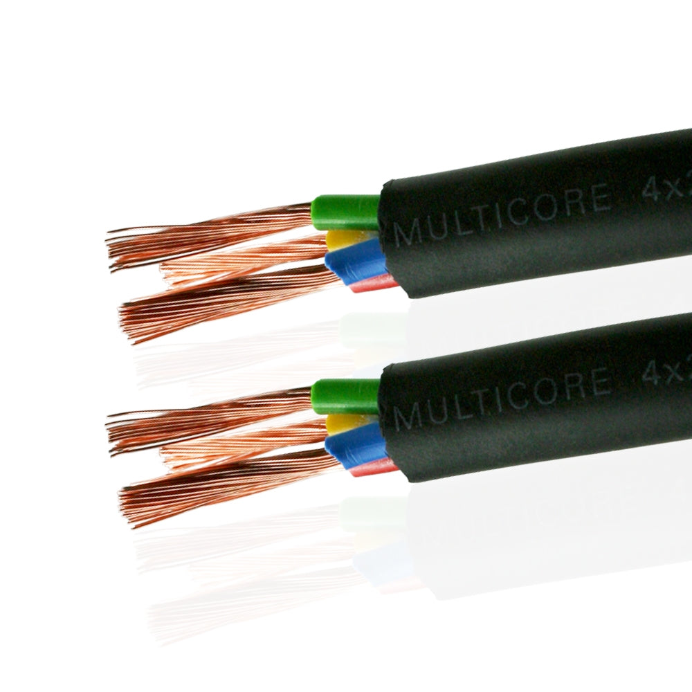 Van Damme Black Series Tour Grade 4 x 2.50mm Multicore Speaker Cable, Black 268-542-000 1 Metre / 1M