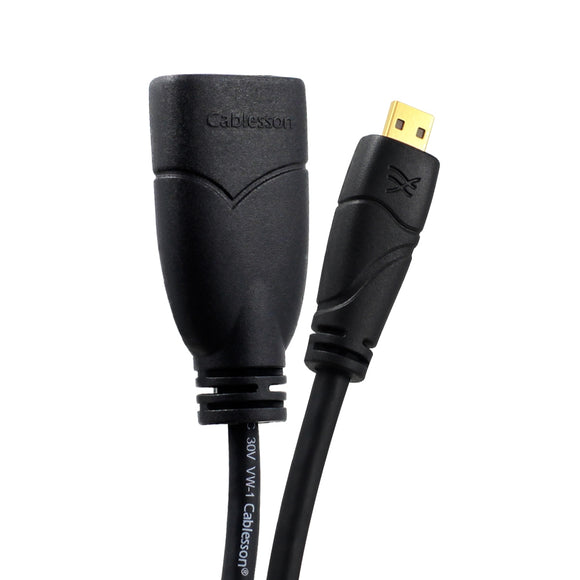 Cablesson Ivuna Micro HDMI 0.2m Extension - upto 1080p - v1.4 / 2.0 - Audio & Video - Full HD - Connecting HD Devices using the new Micro HDMI Connector to PC or TV Gold Plated 3D Full HD 1080p 4k2k