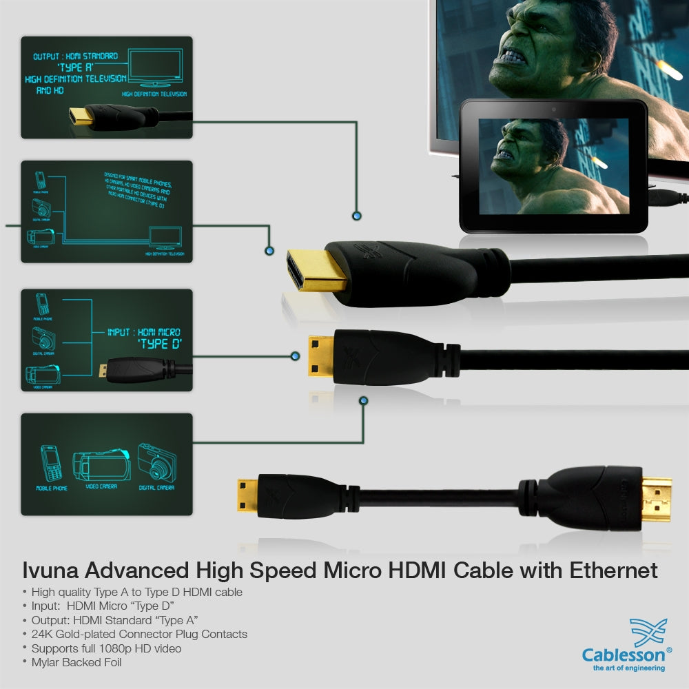 Cablesson Basic 3m / 3 meter Micro (Type D) HDMI to HDMI High Speed Cable with Ethernet (Latest 1.4a / 2.0 version) Gold Plated 3D Full HD 1080p 4k2k For Connecting HD Devices using the new Micro HDMI connector for Microsoft Surface tablet, Digital SLR C